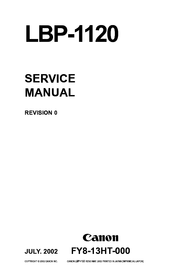 CANON LBP-1120 SM Service Manual download, schematics