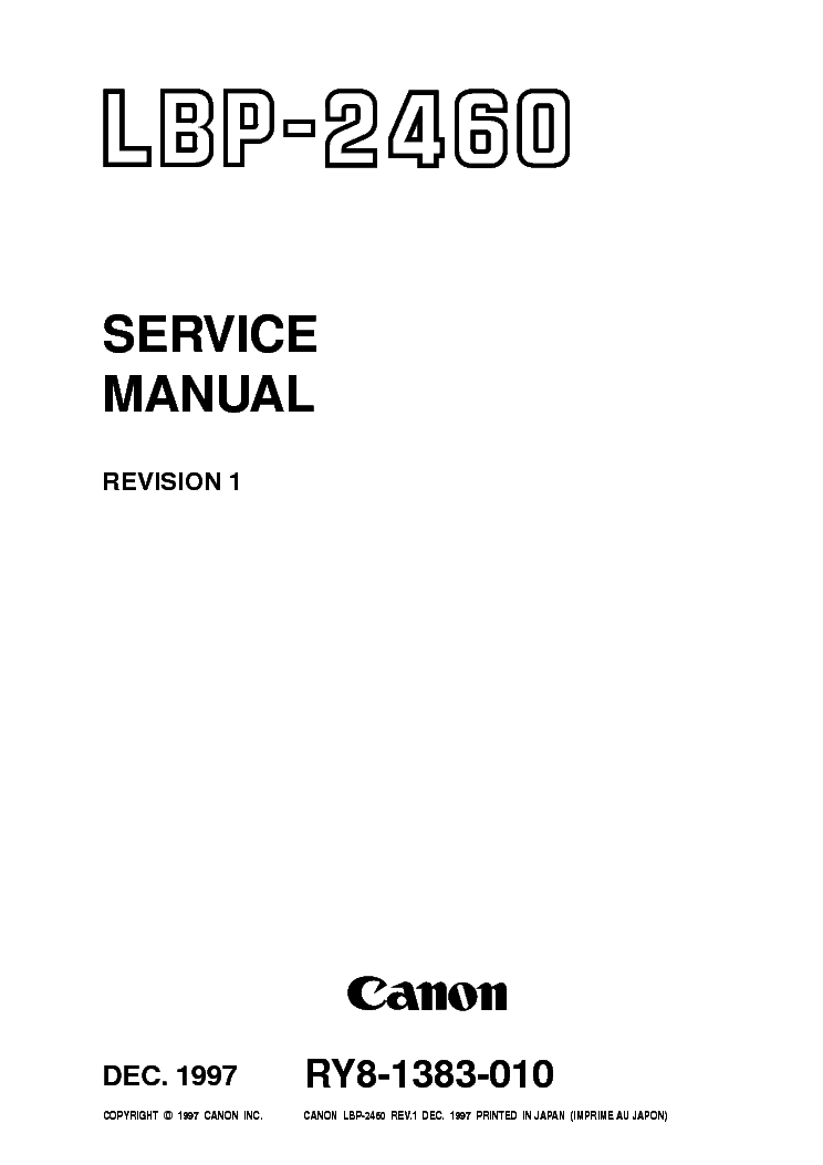 CANON I560 PIXUS 560I SM Service Manual free download