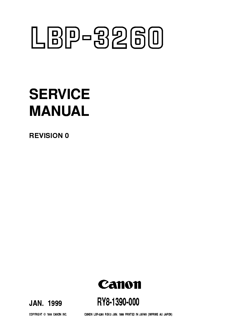 CANON LBP-3260 SM Service Manual download, schematics