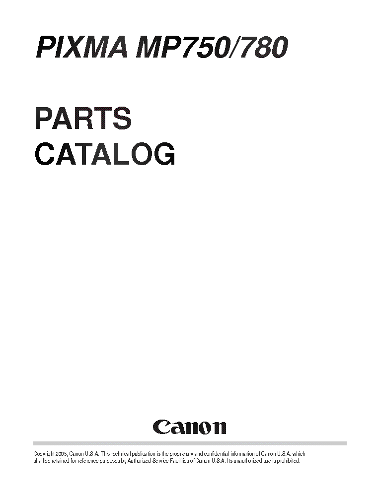 CANON MP750 MP780 PARTS Service Manual download