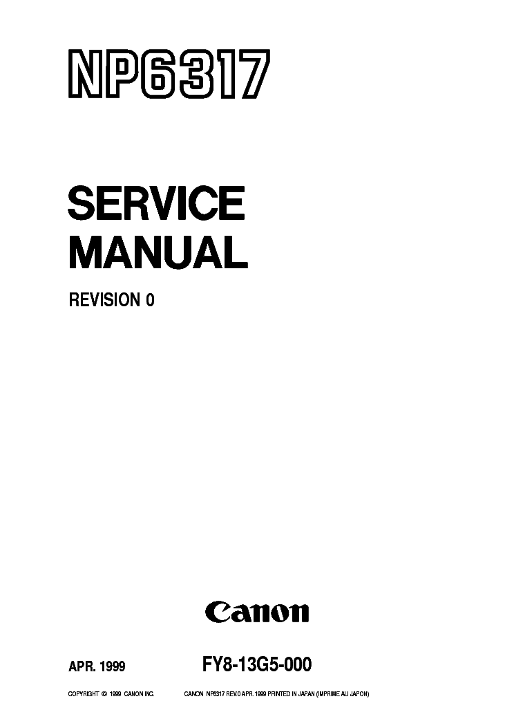 CANON NP6317 SM Service Manual download, schematics