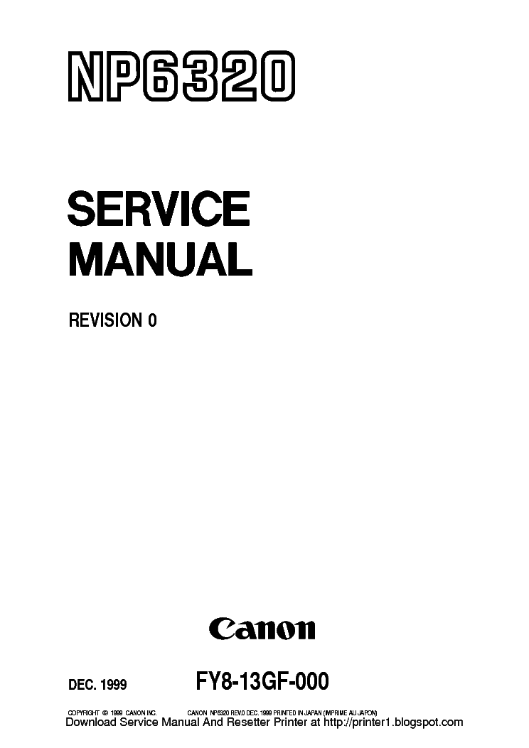 Canon NP6320 NP 6320 Service & Repair Manual + Parts