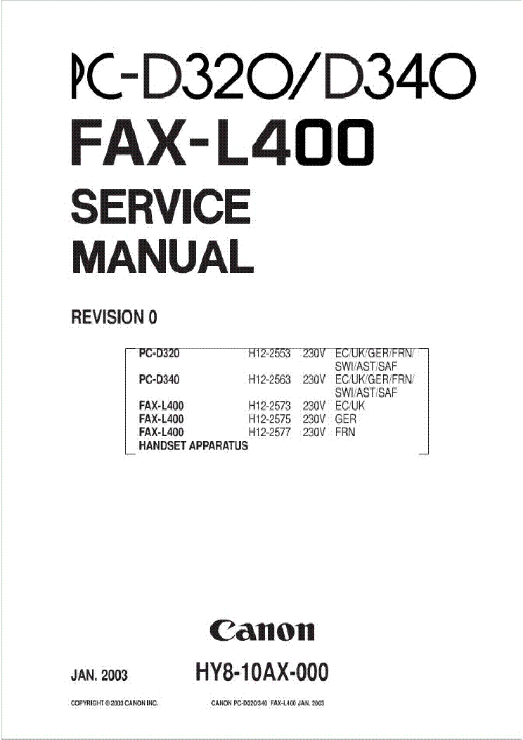 CANON PC-D320 340 FAX L400 SM Service Manual download