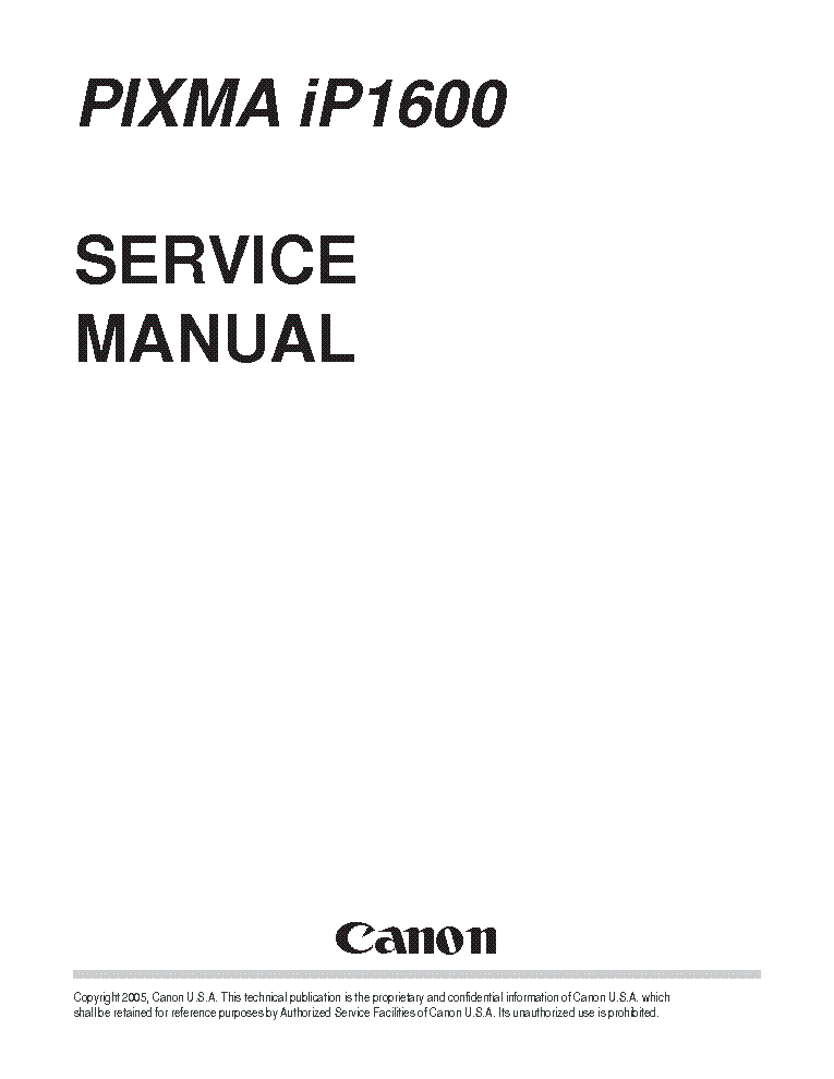 CANON PIXMA iP1200 iP1600 iP2200 SERVICE & REPAIR MANUAL