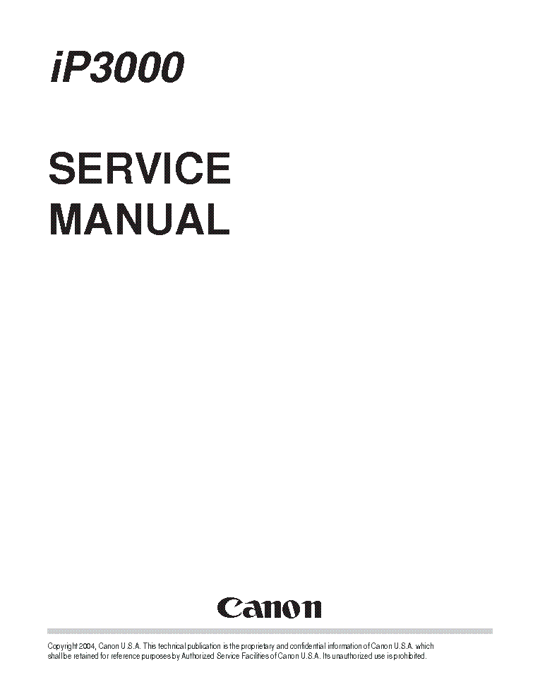 CANON PIXMA IP3000 SM Service Manual download, schematics