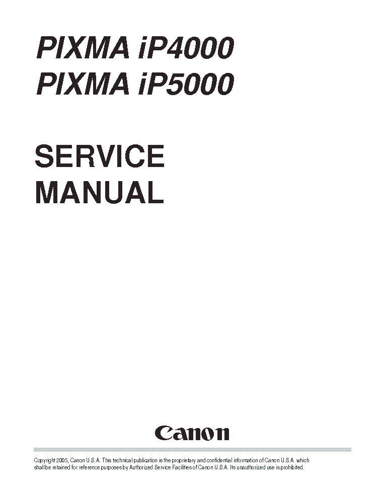 CANON PIXMA IP4000 IP5000 SM Service Manual download