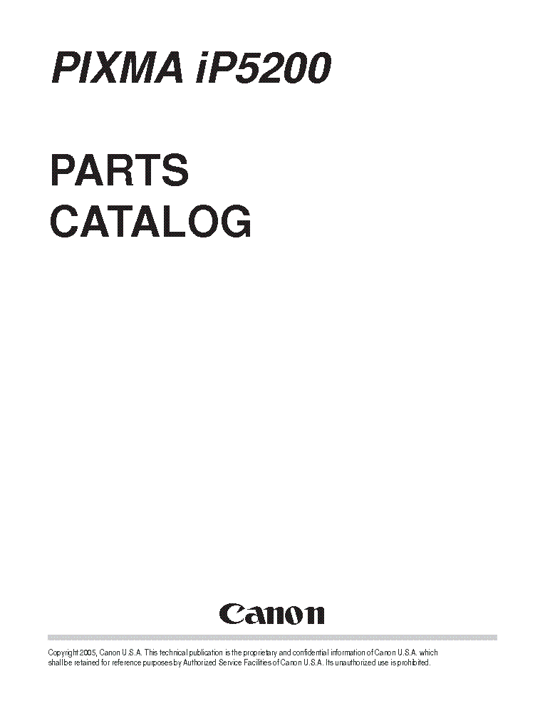CANON PIXMA IP5200 PARTS Service Manual download