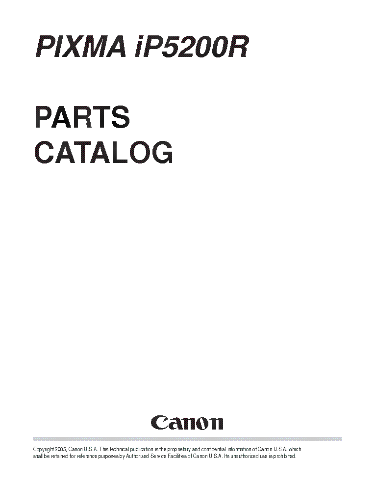 CANON PIXMA IP5200R PARTS Service Manual download