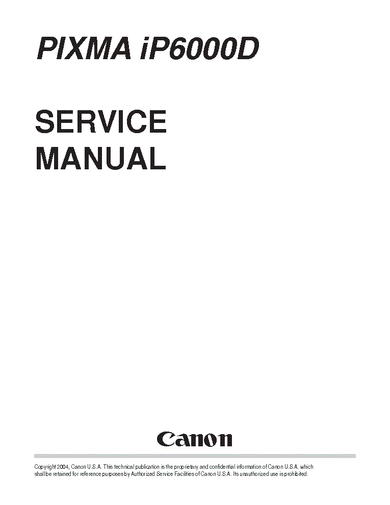CANON PIXMA IP6000D IP 6000 D SERVICE & REPAIR MANUAL
