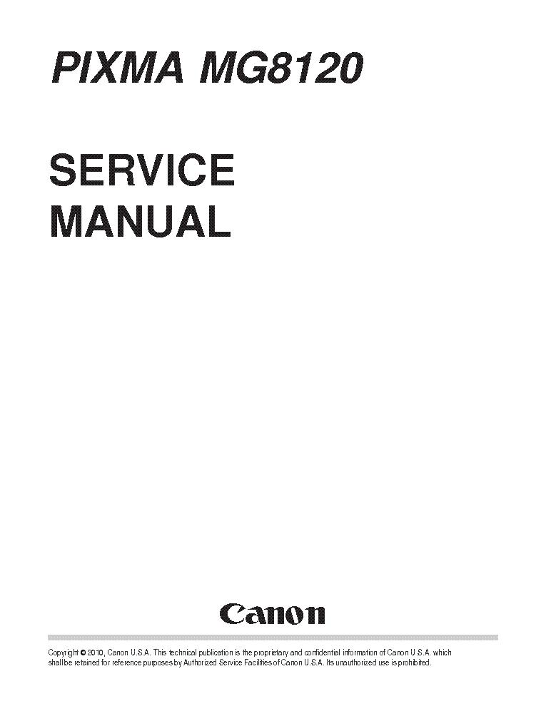 CANON PIXMA MG8120 SM Service Manual download, schematics