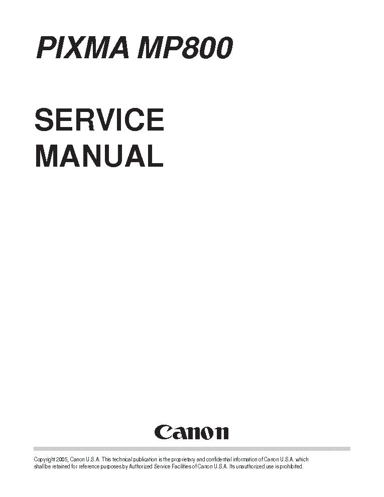 CANON PIXMA MP800 SM Service Manual download, schematics