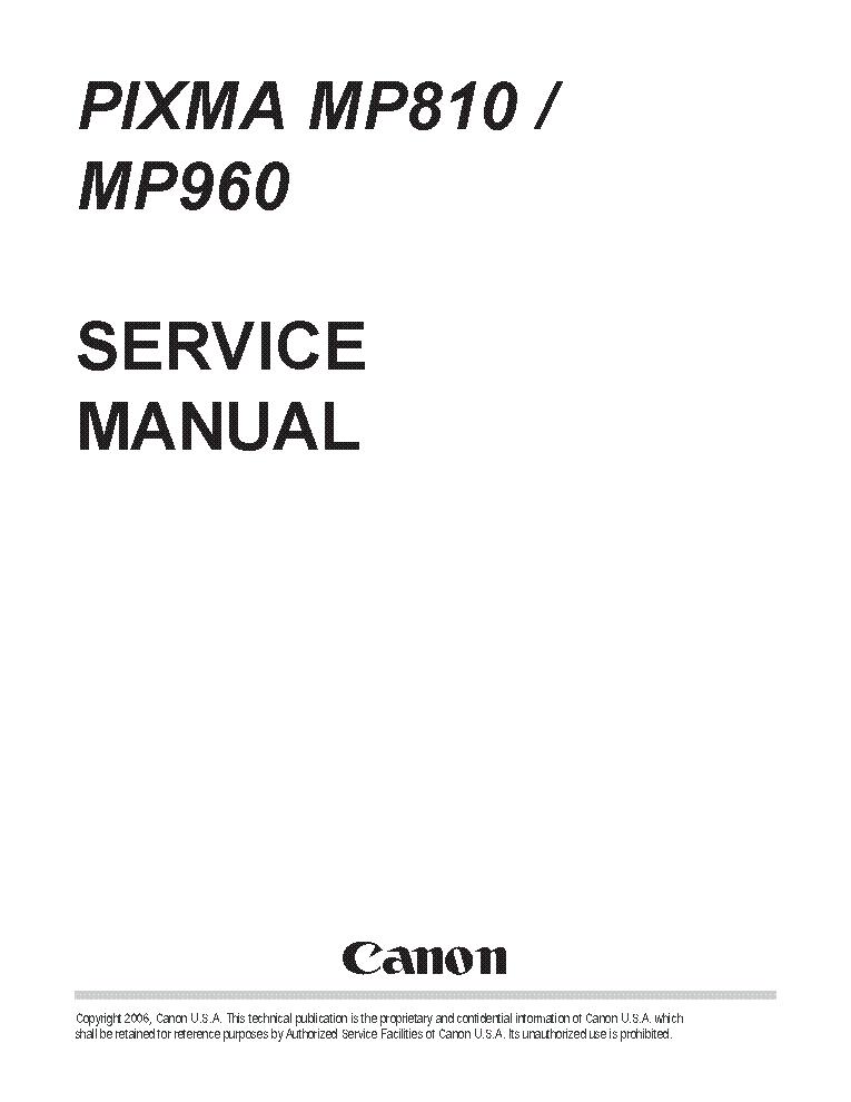 CANON PIXMA MP810 MP960 SM Service Manual download