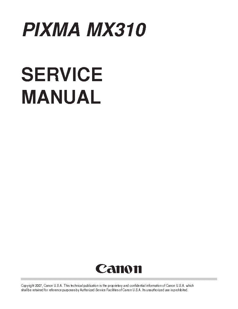 Canon Pixma MX310 MX 310 Service Manual & Repair Guide