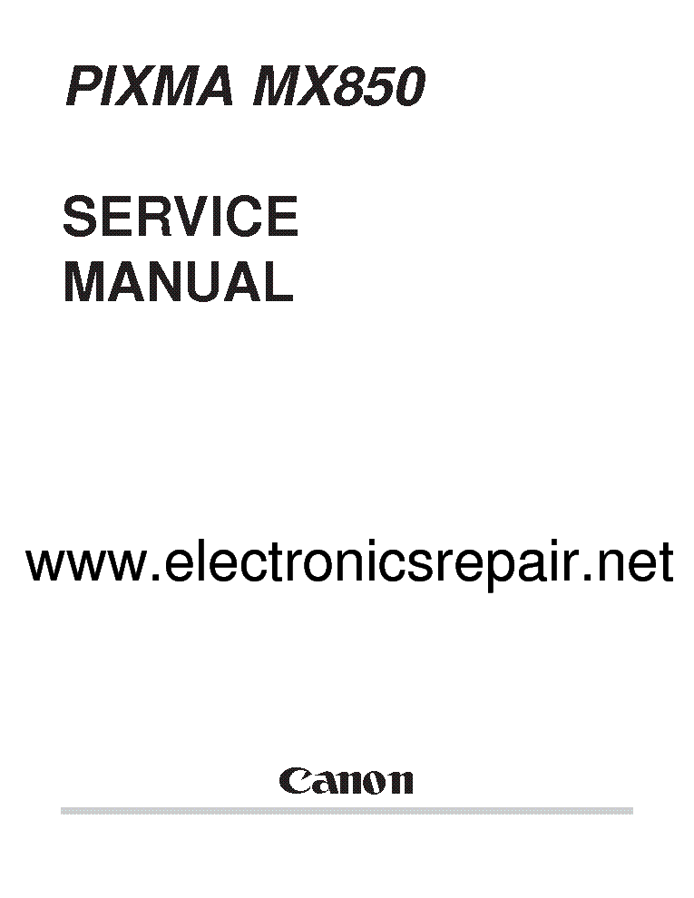 CANON PIXMA MX850 Service Manual download, schematics