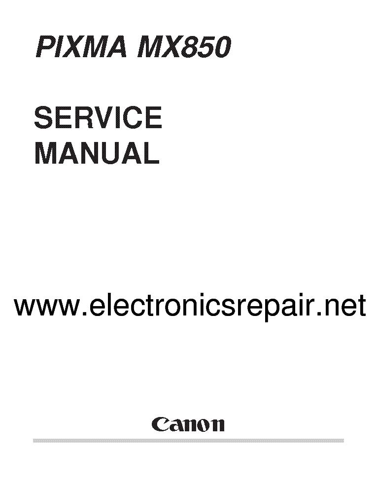 CANON PIXMA MX850 Service Manual download, schematics