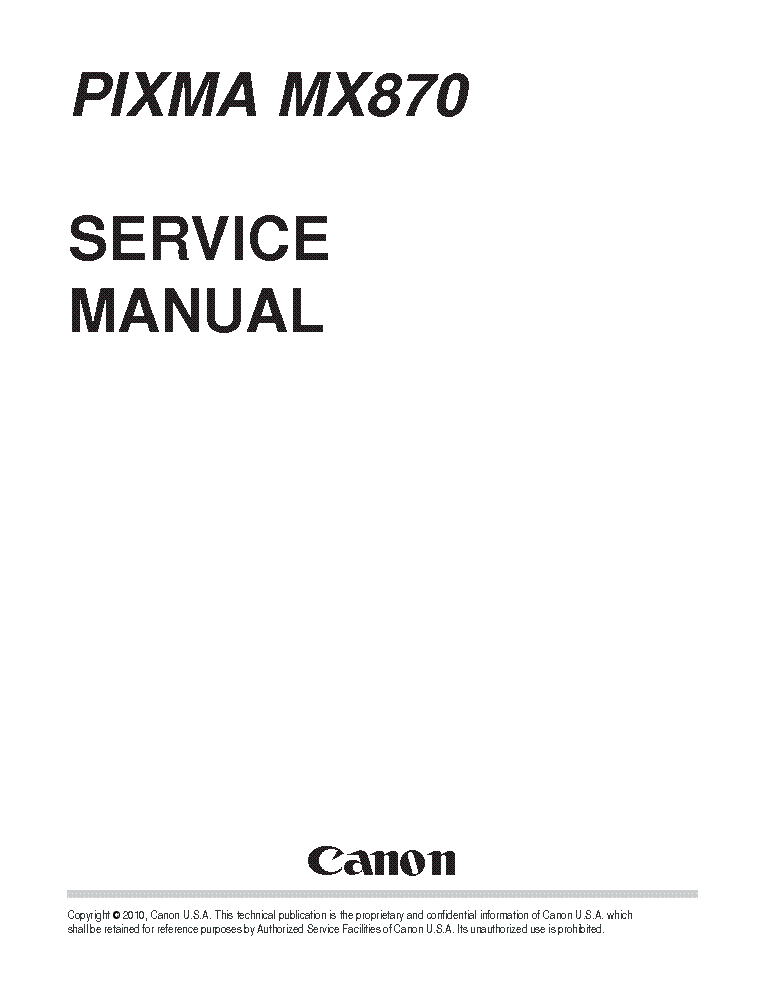 CANON PIXMA MX870 SM Service Manual download, schematics
