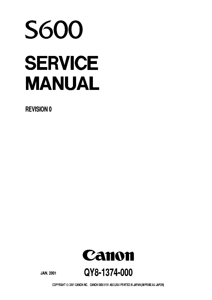 CANON S500 S600 S630 S630N SM Service Manual download