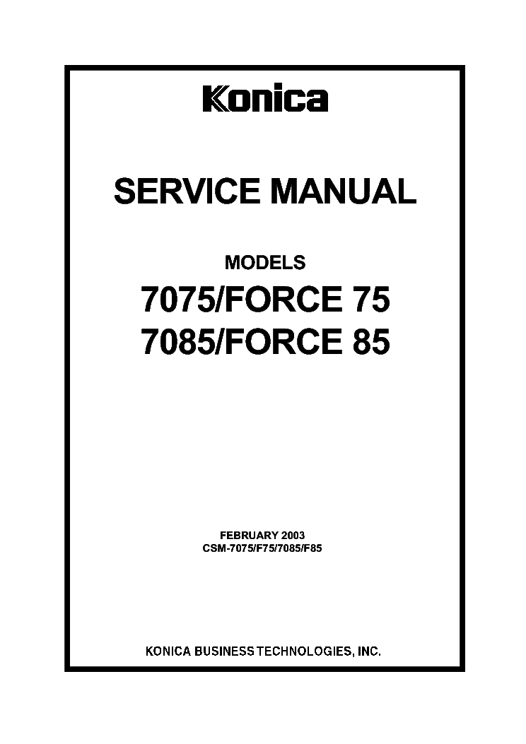 KONICA CSM-7075 7085 FORCE-75 85 SM Service Manual