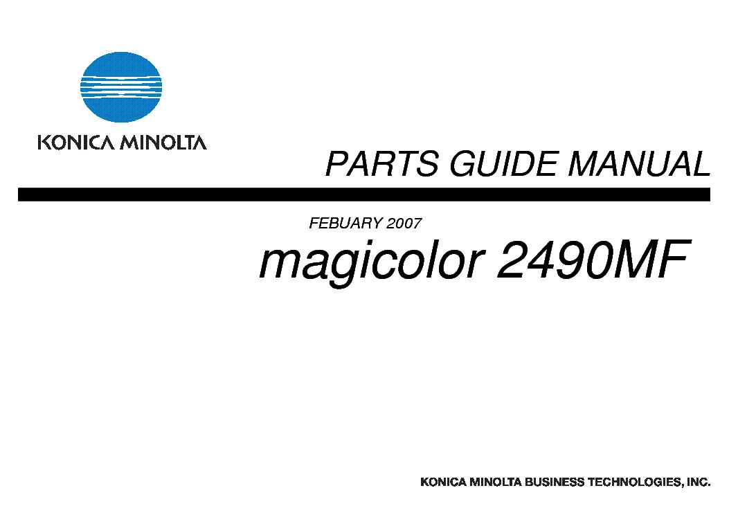 KONICA MINOLTA MAGICOLOR 2490MF PARTS Service Manual