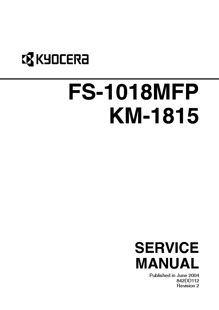 KYOCERA FS-1018MFP KM-1815 SM Service Manual download