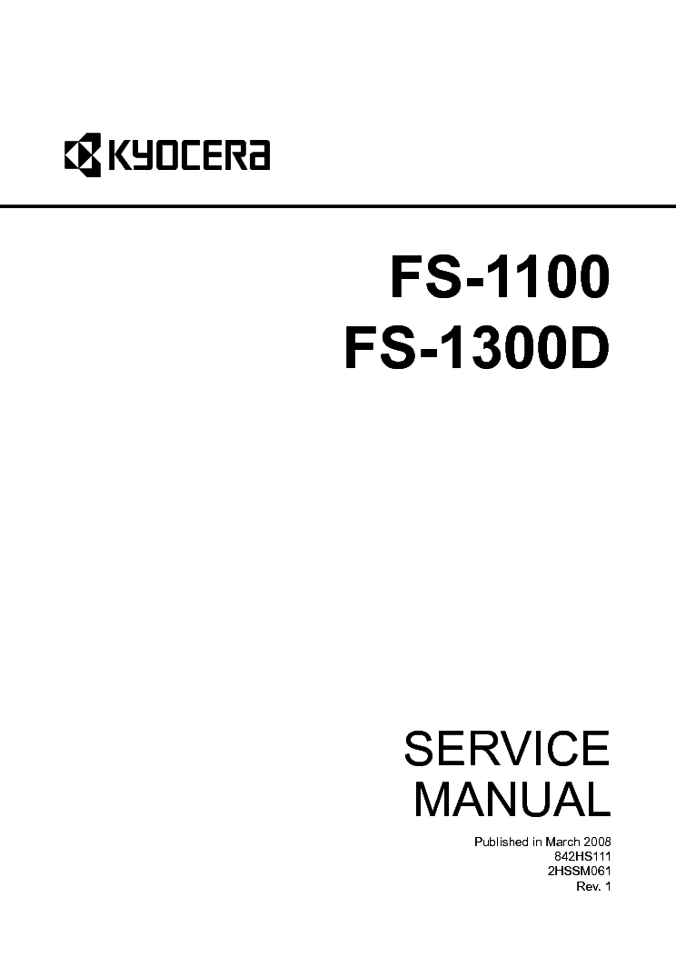 KYOCERA FS-1100 FS-1300D SM Service Manual download