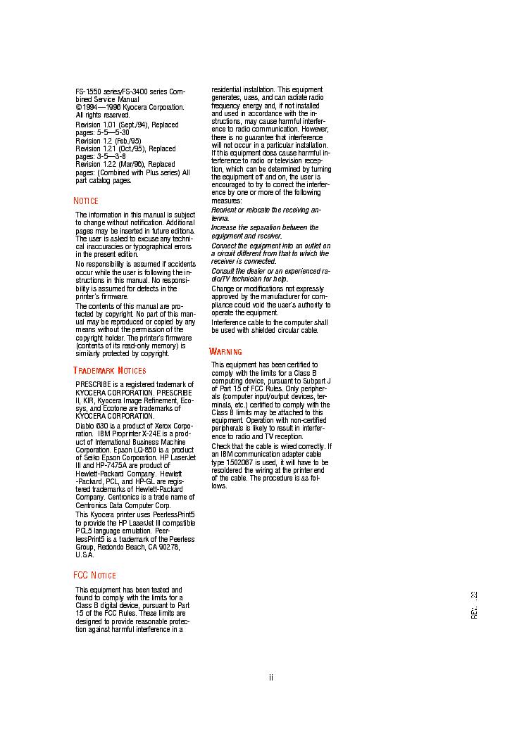 KYOCERA FS1550 FS-3400 SM Service Manual download
