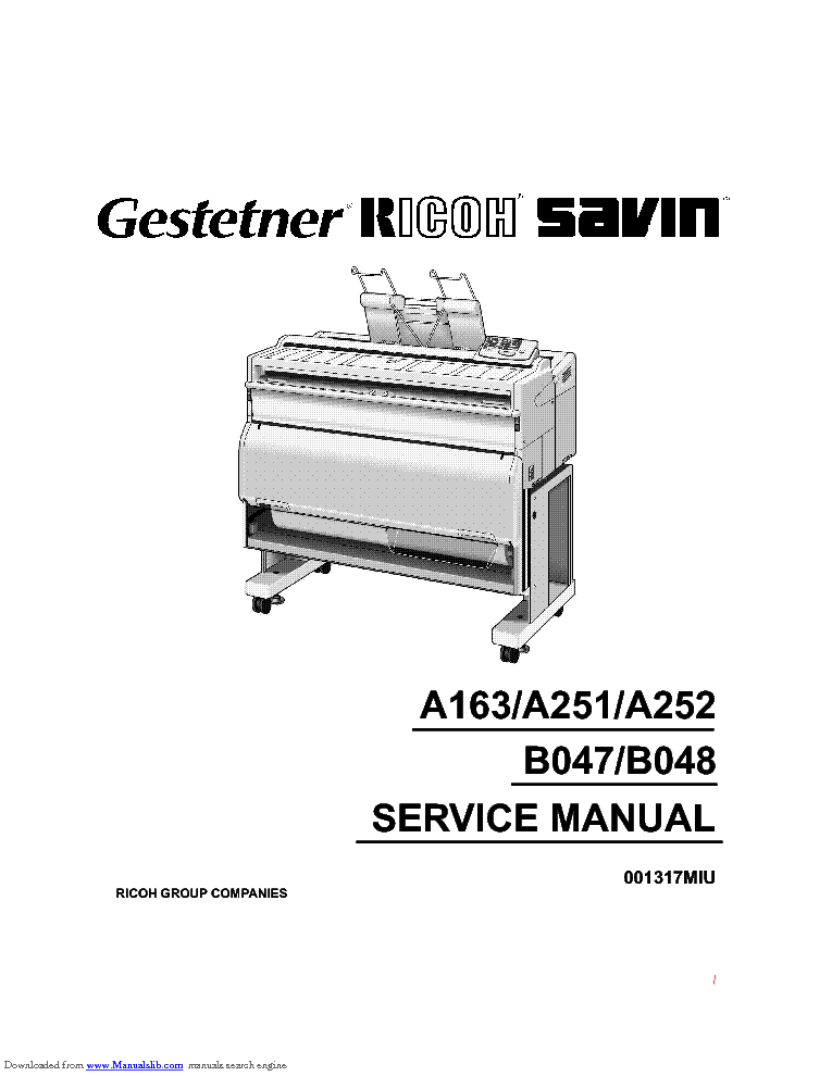 RICOH A163 A251 A252 B047 B048 Service Manual download