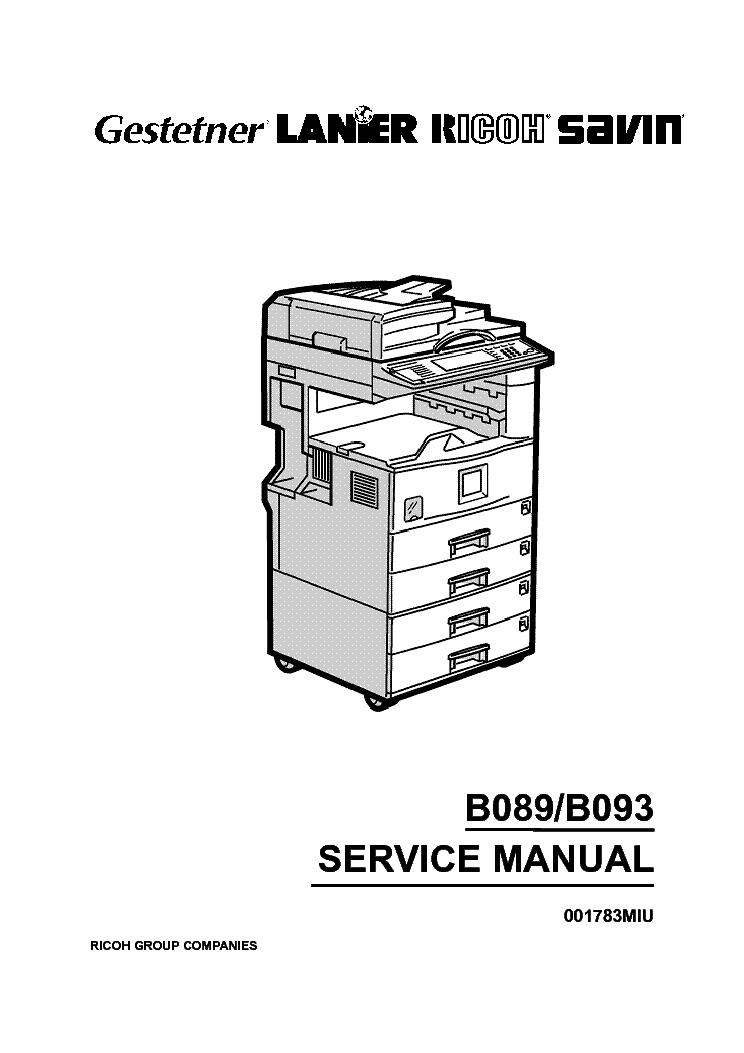 RICOH B089 B093 SM Service Manual download, schematics