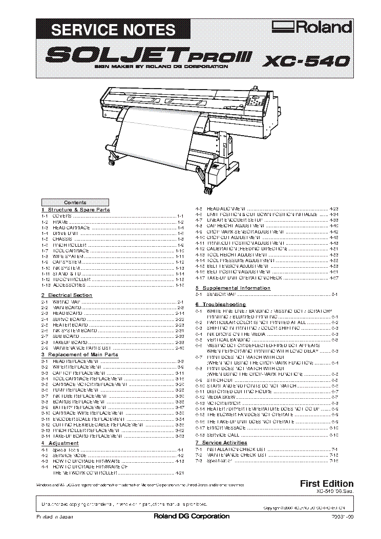 ROLAND XC-540 SIGN MAKER Service Manual download