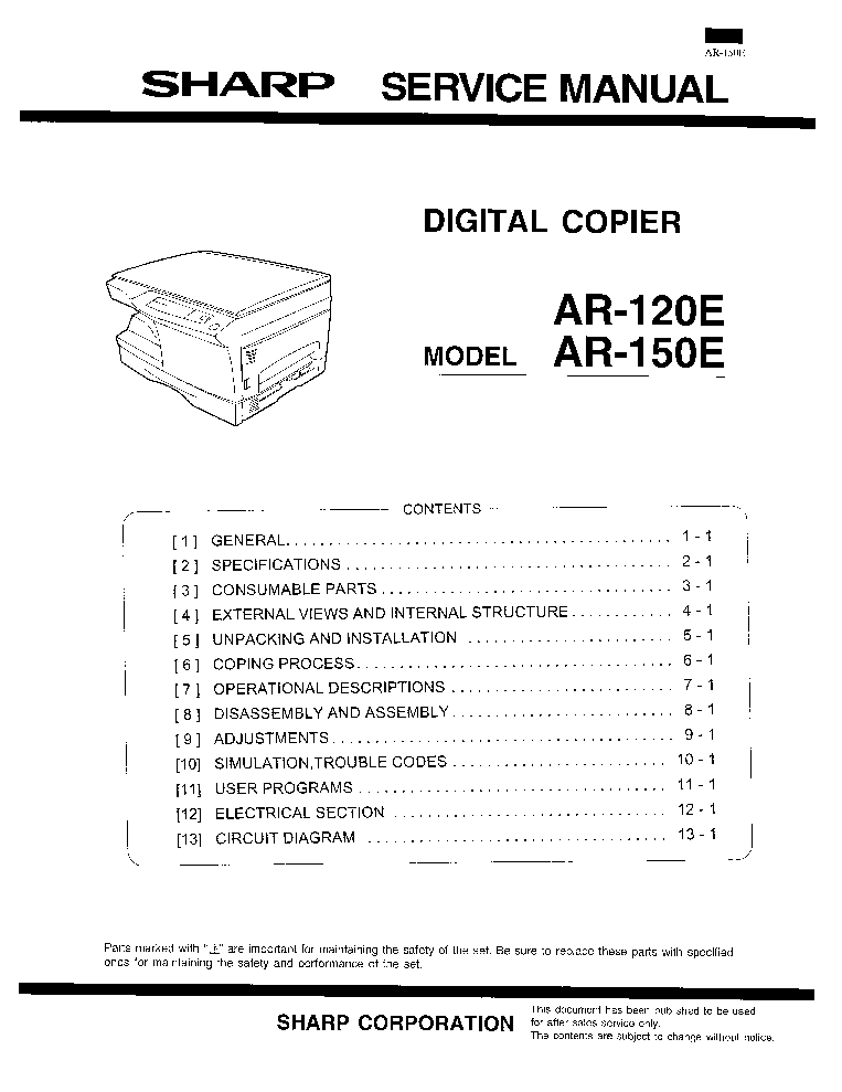 SHARP AR-120E AR-150E Service Manual download, schematics