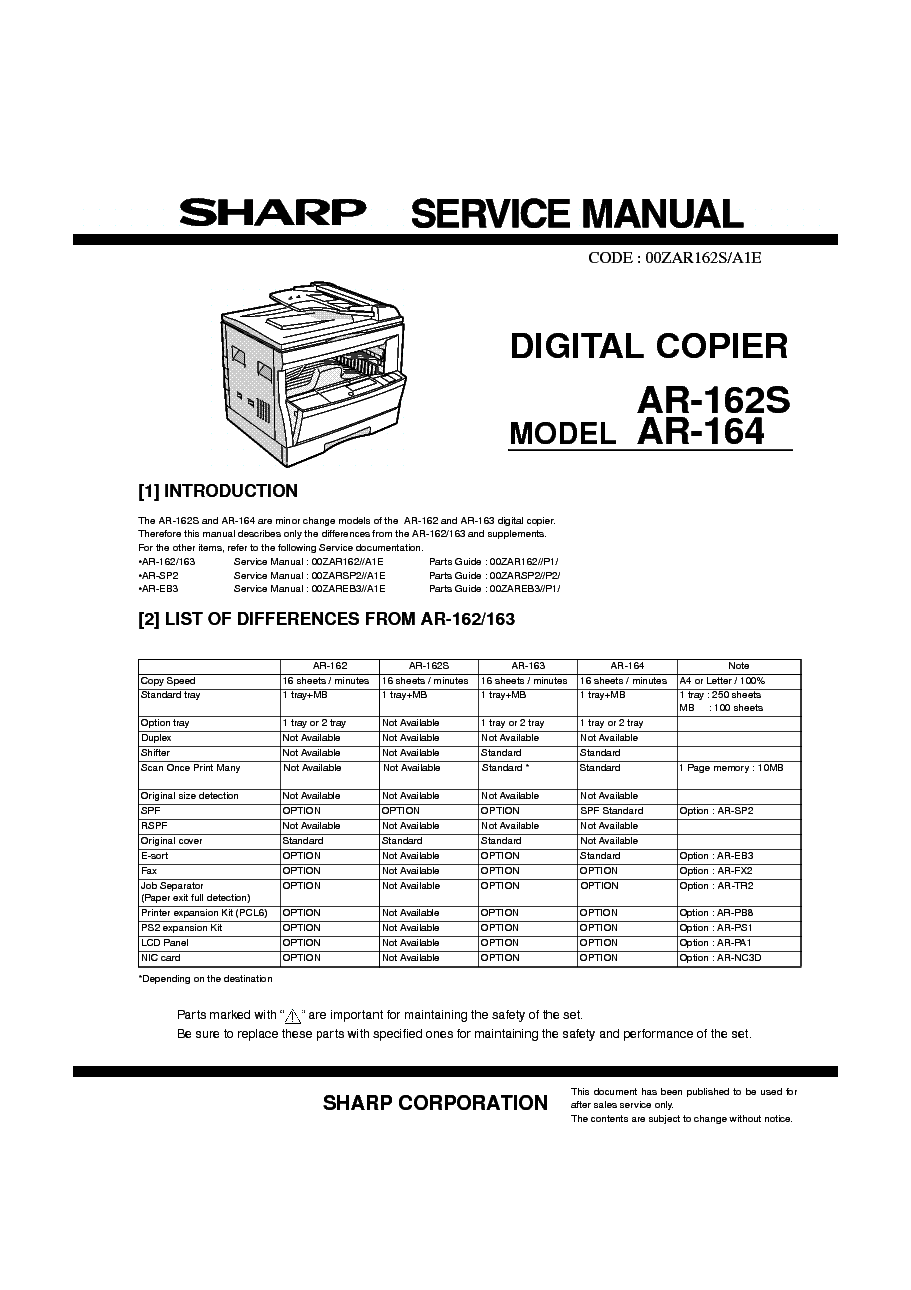 SHARP AL-1631 AL-1641CS AL-1645CS Service Manual free