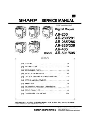 SHARP AR250280281285286335336405501505 SPANISH