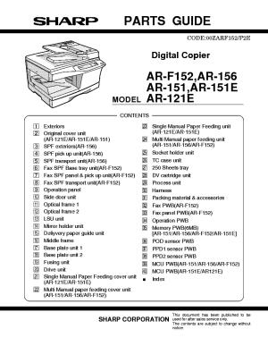 SHARP ARF152 AR156 AR151 AR121 PARTS Service Manual