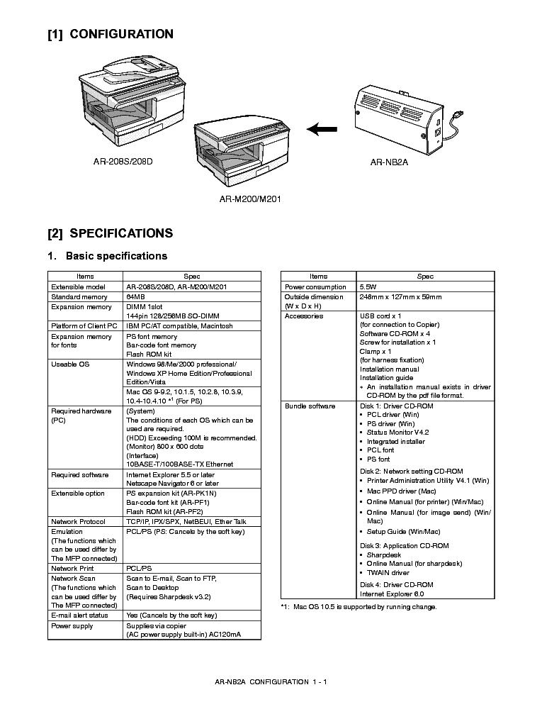 SHARP AR-NB2A Service Manual download, schematics, eeprom