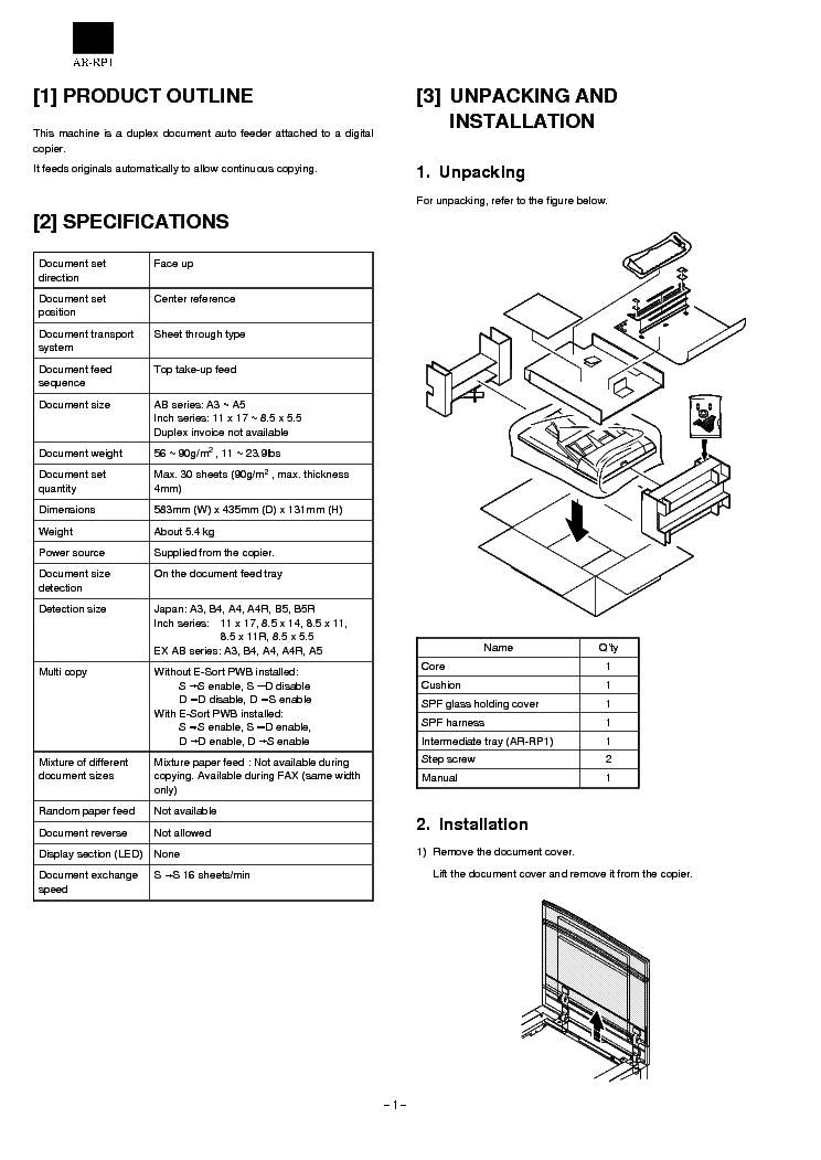SHARP AR-RP1 Service Manual download, schematics, eeprom