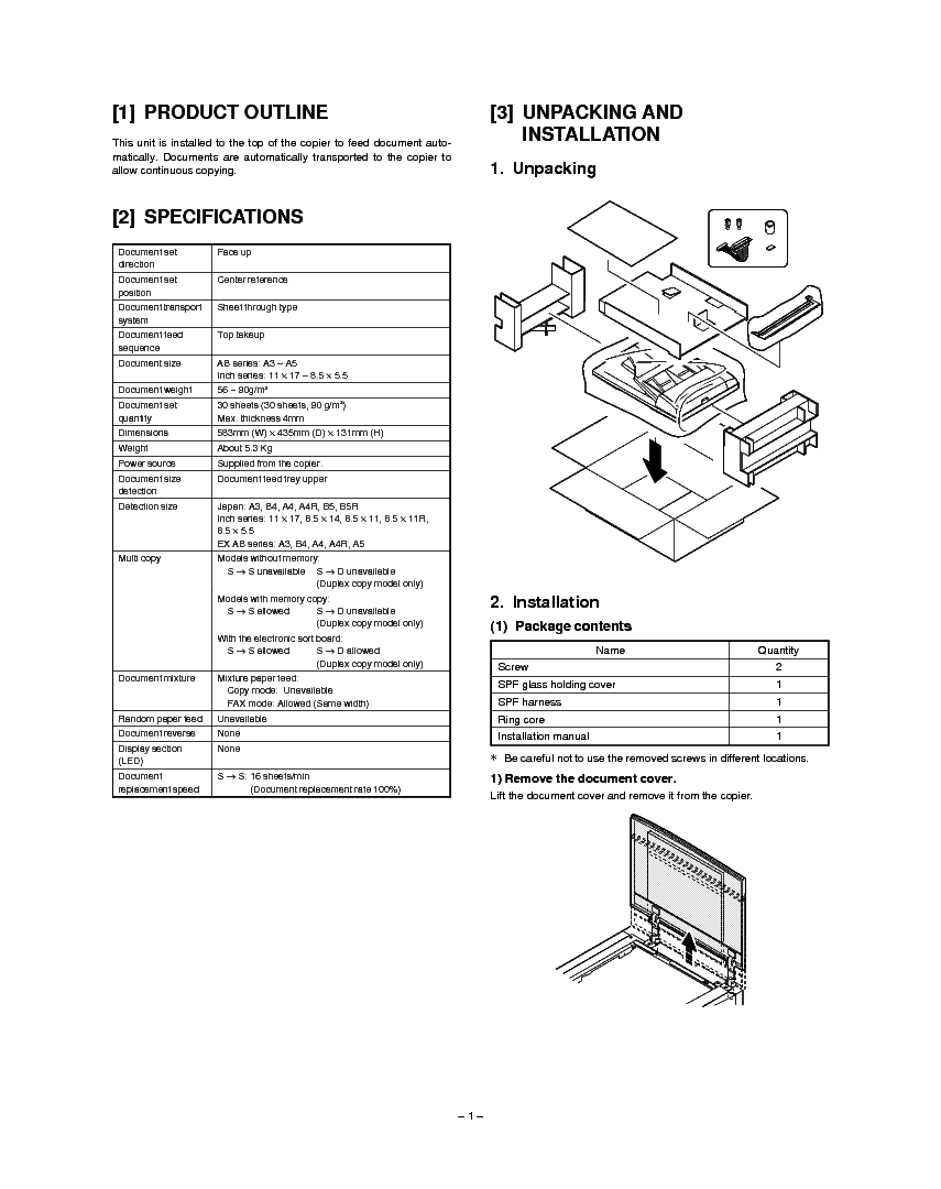 SHARP AR-SP2 Service Manual download, schematics, eeprom