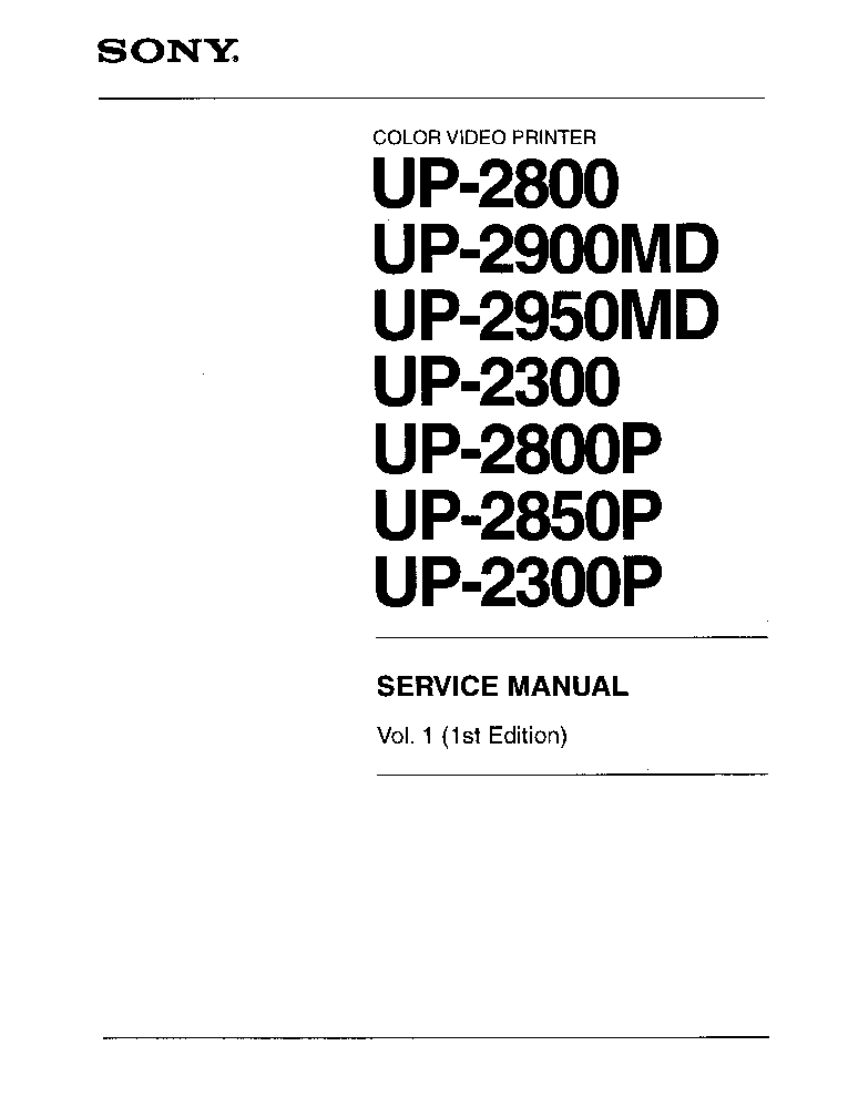 SONY UP-2800 UP-2900MD UP-2950MD UP-2300 UP-2800P UP-2850P