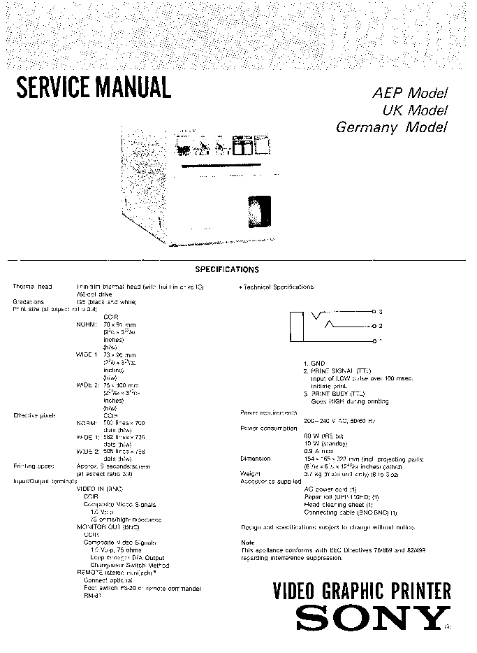 SONY UP-850 Service Manual download, schematics, eeprom