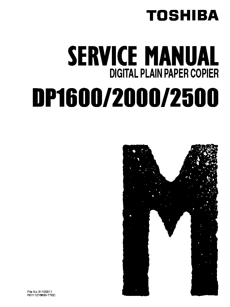 TOSHIBA DP1600 2000 2500 SM Service Manual download