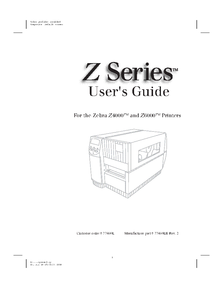 ZEBRA Z-4000-6000 LASER PRINTER 1998 SM Service Manual