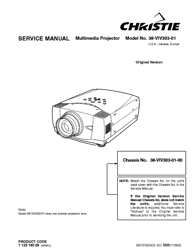 CHRISTIE LX45 SM Service Manual download, schematics