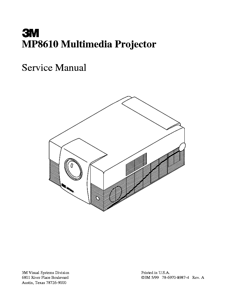 3M MP8610 Service Manual download, schematics, eeprom