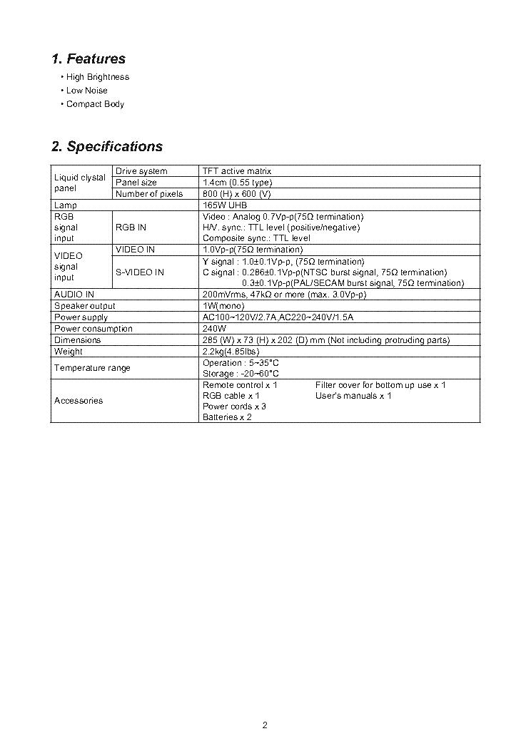 HITACHI CP-RS55 PJ400 Service Manual download, schematics