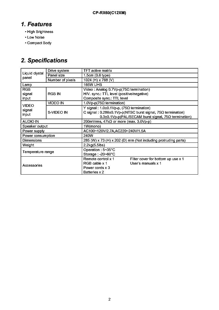 HITACHI CP-RX60 Service Manual download, schematics