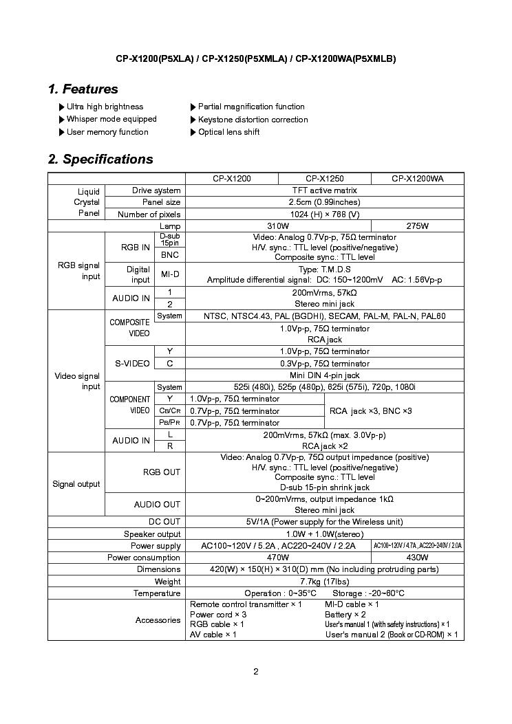 HITACHI CP-X1200 X1250 P5XLA P5XMLA SM Service Manual
