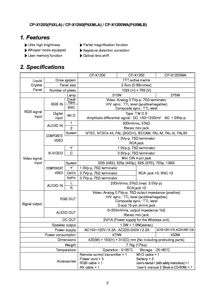 HITACHI CP-X1200W X1200WA X1250W PJ1165 SM Service Manual