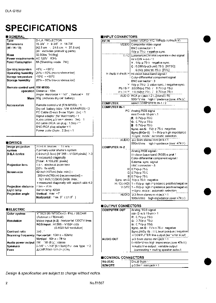 JVC DLA-G15U Service Manual download, schematics, eeprom