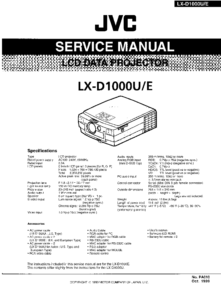 JVC DLA-HX2E U Service Manual free download, schematics