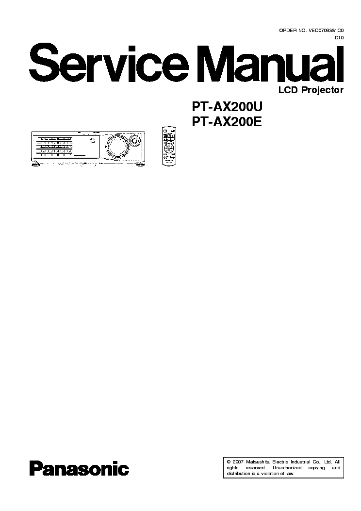 PANASONIC PT-AX200E AX200U SM Service Manual download