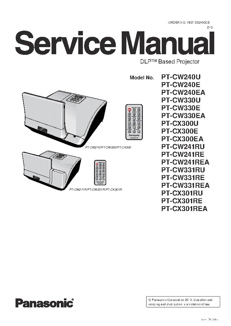 PANASONIC PT-CW240 PT-CW330 PT-CX300 PT-CW241 PT-CW331 PT